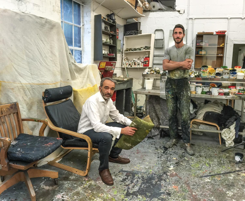 Curator Joe Madeira studio visit with artist Steven Allan