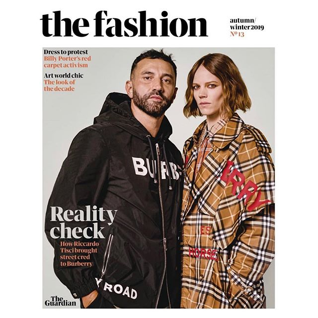Hair by me for the cover of @guardianfashion  In the trenches: @riccardotisci17 tells all on his new era at @burberry . It's cool, smart and has great hair - just like @frejabeha.erichsen who with Tisci models on the cover. Out this Sat 14th September with the @guardian 🗞  Makeup @rionaosullivan_makeup  Styling @jojones_fashion  Photography @sheekswinsalways  All clothing @burberry  Interview Lauren Cochrane Set design @alundaviesad Styling assistant @peterbev Photographers assistants Meshach Falconer-Roberts, Benjamin Coppola Set design assistant Charlie Speak #Burberry #thefashionaw19