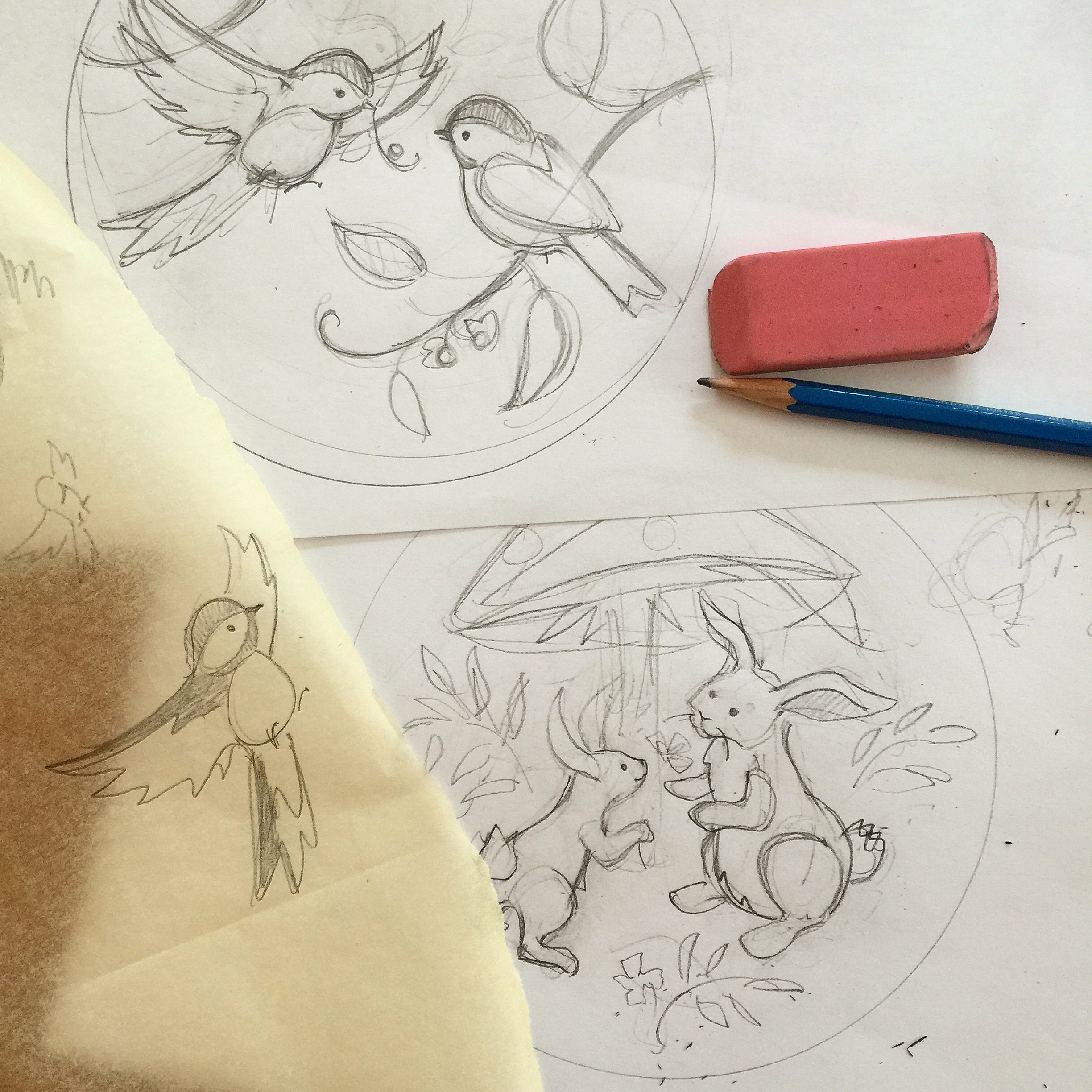 The little rabbits are still on the drawing table, I haven't found the right color felt for them yet.