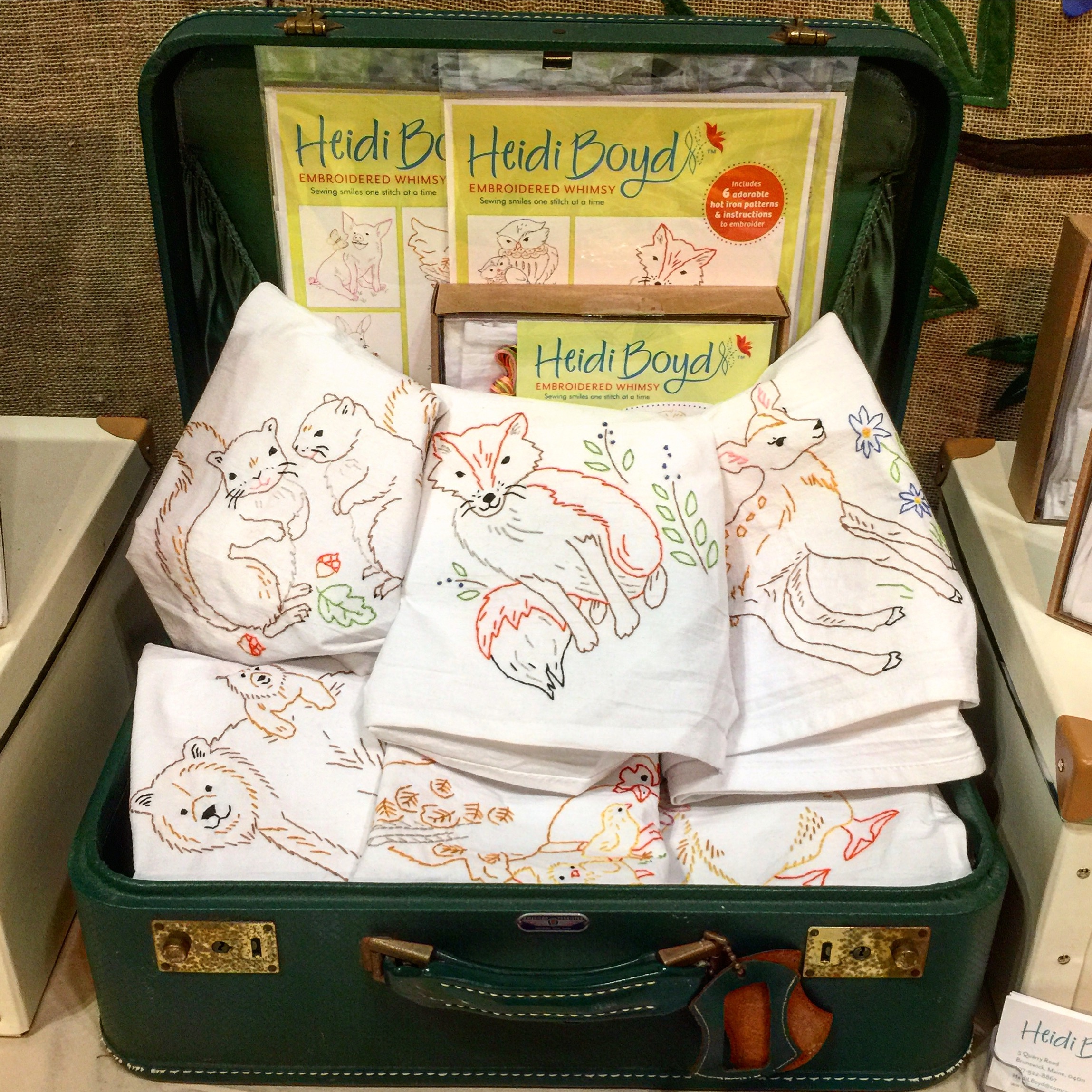 Finished Tea Towel Kits on display at National Stationary Show in NYC