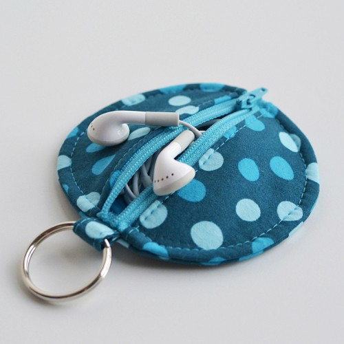 Circle Zip Ear Bud Pouch by Dog Under My Desk