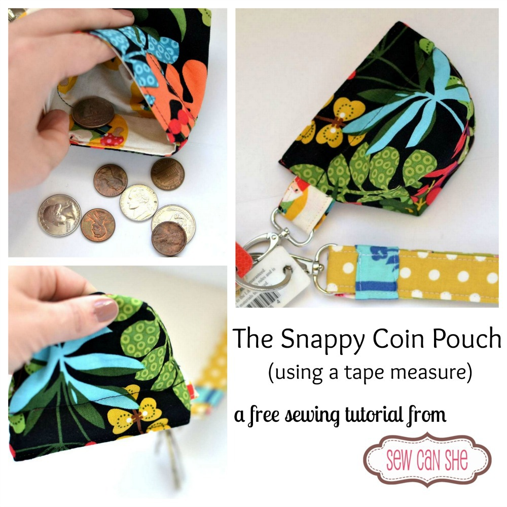 Sew a cute snappy coin pouch - free pattern.
