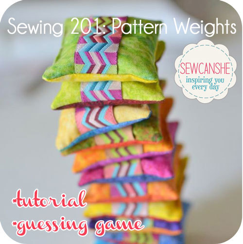 How to sew cute pattern weights with a ribbon tag.