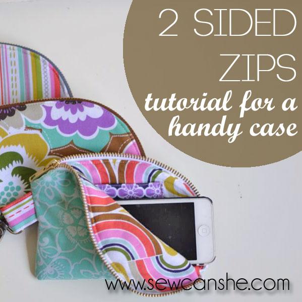 2 Sided Zipper Case sewing pattern.
