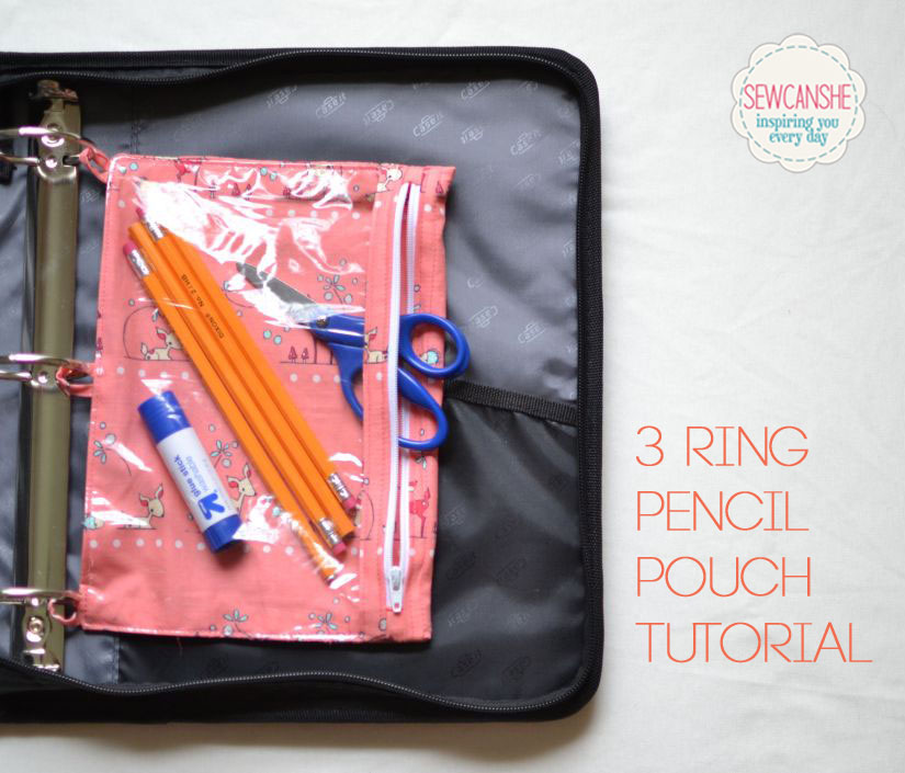 Sewing pattern for a 3 ring pencil pouch.
