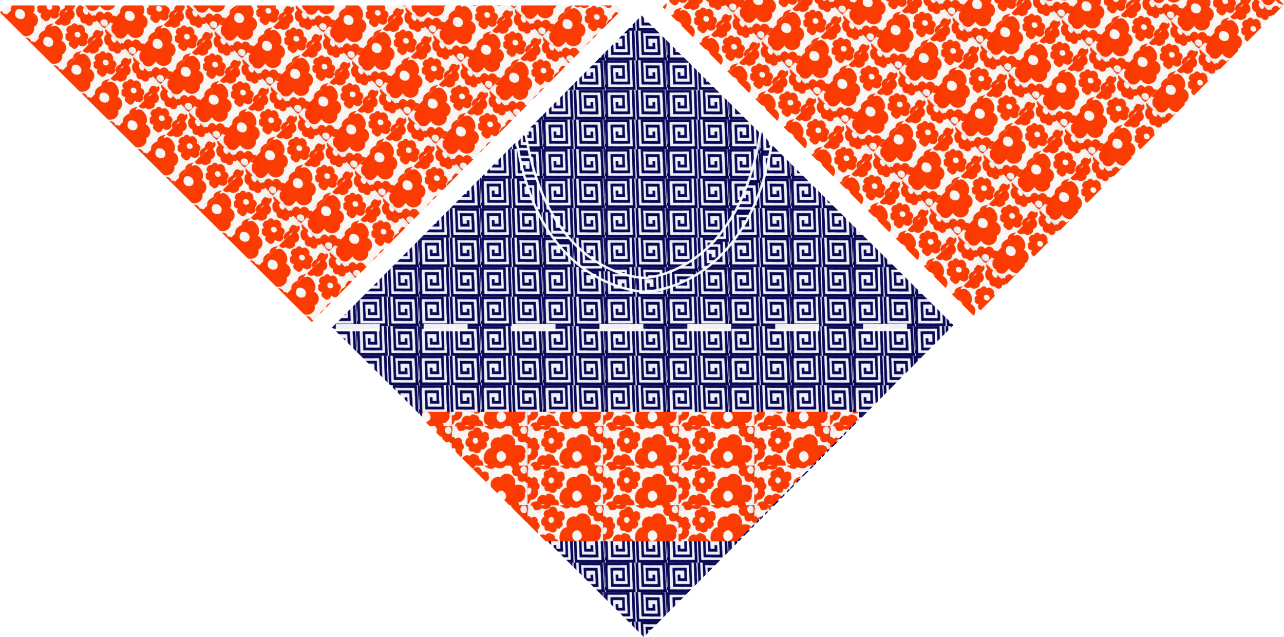 Sew the interfaced triangles to the interfaced side of one square.