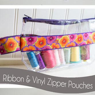 Ribbon and Vinyl Zipper Pouch Tutorial