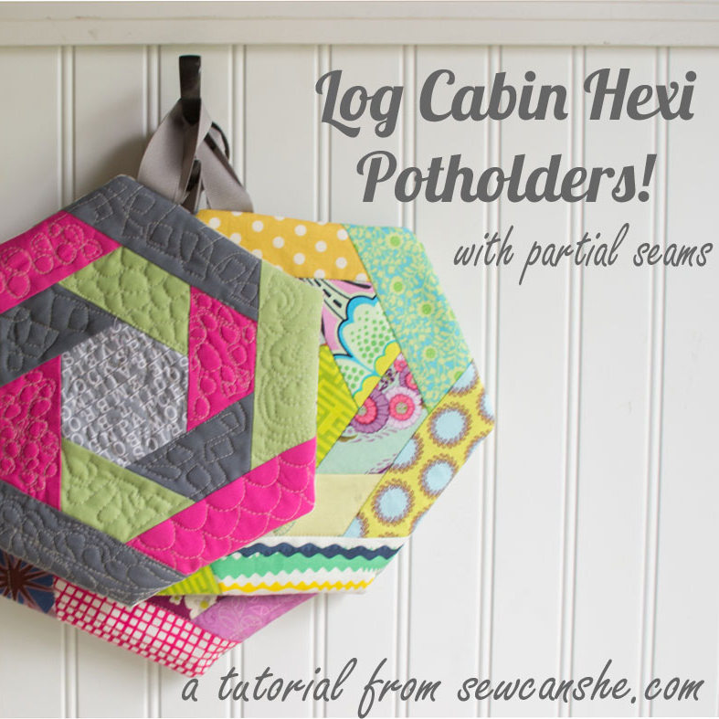 Log Cabin Hexi Potholders.