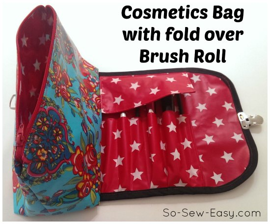 Cosmetic Bag with Make-up Brush Roll from So Sew Easy
