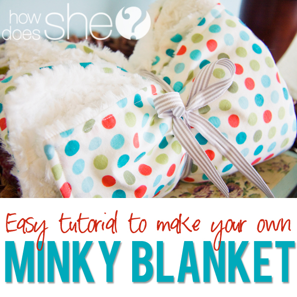 Cotton Print and Minky Baby Blanket from How Does She