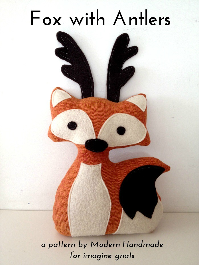 stuffed fox with antlers free pattern from Imagine Gnats