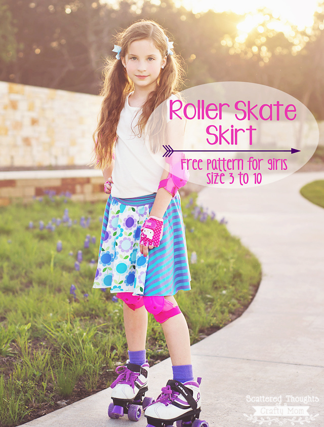 Roller Skate Skirt Pattern for girls from Scattered thoughts of a Crafty Mom