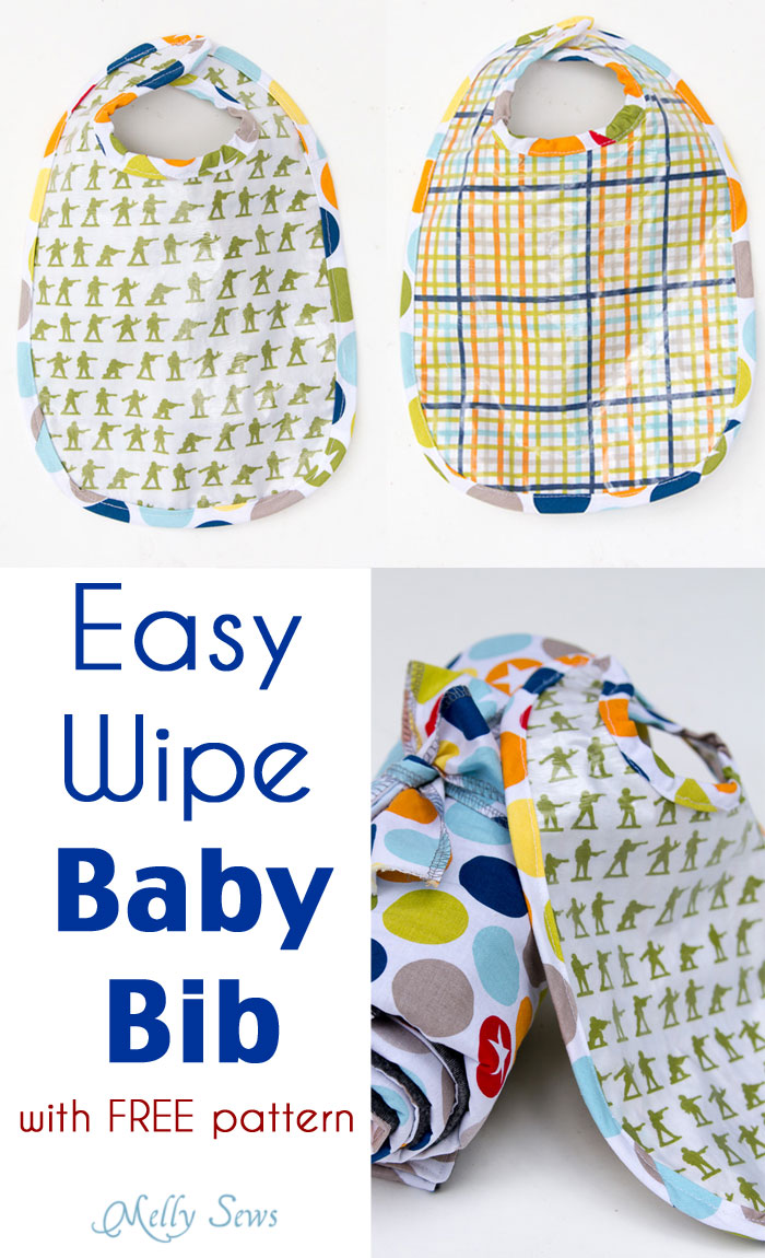 Easy Wipe Baby Bib from Melly Sews