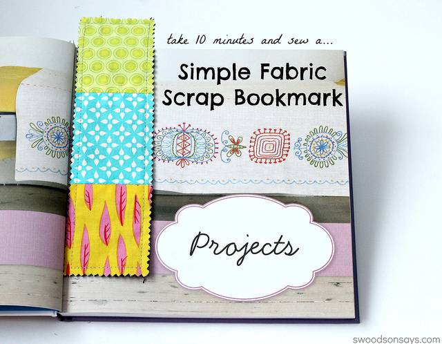 Simple Fabric Scrap Bookmark from Swoodson Says