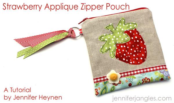 STRAWBERRY APPLIQUE ZIPPER POUCH from Jennifer Heynen