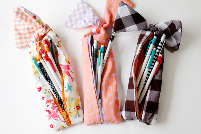 knotted zipper pencil pouch tutorial from See Kate Sew