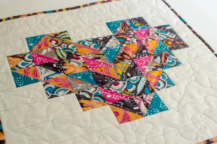 patchwork heart mini quilt HST