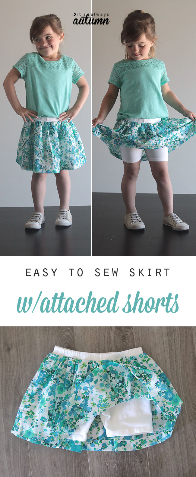 easy to sew skirt with attached shorts from It's Always Autumn