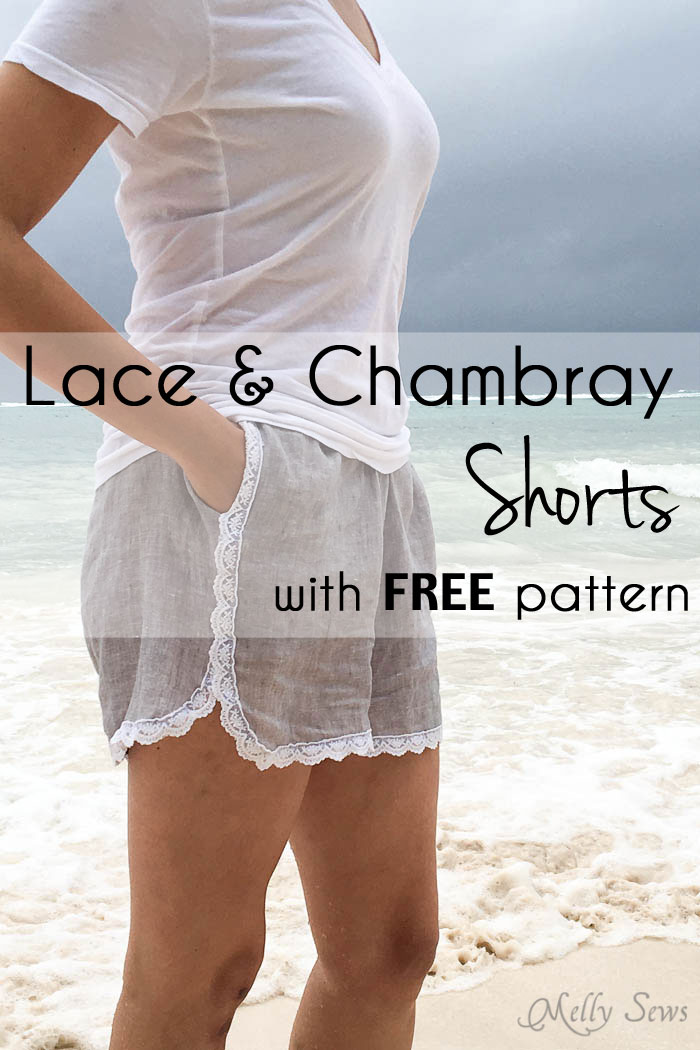 Lace Trimmed Shorts from Melly Sews