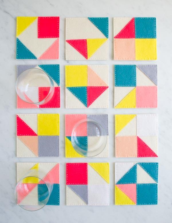 Modular Felt Coasters from Purl Soho