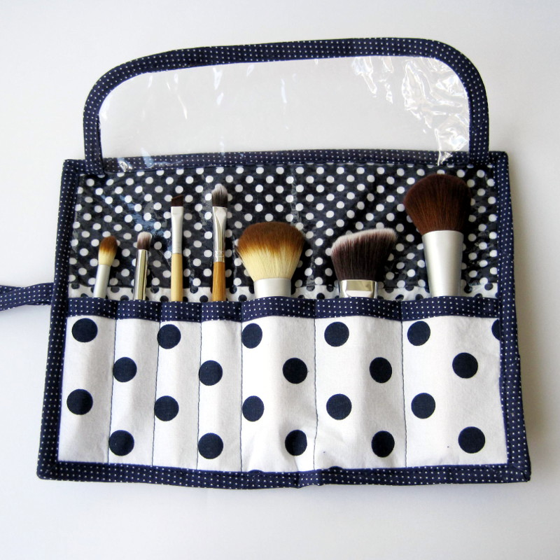 Makeup Brush Roll Tutorial from She's Got The Notion