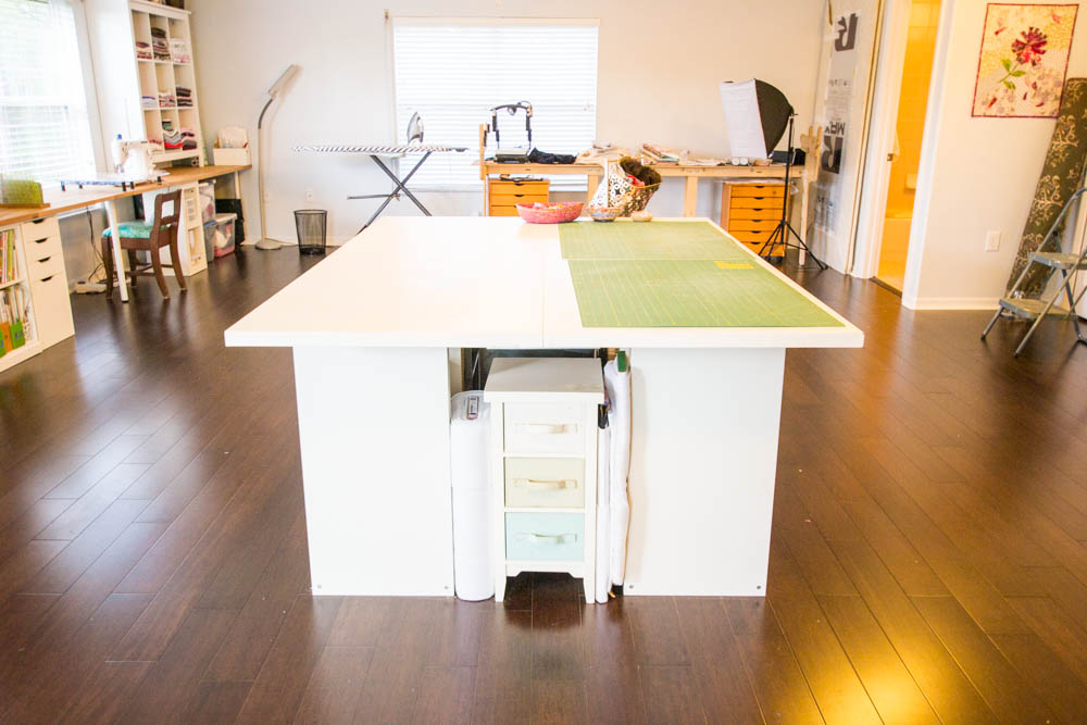 Diy Sewing And Cutting Table With Storage Cubbies