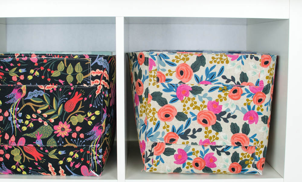 completed fabric storage baskets