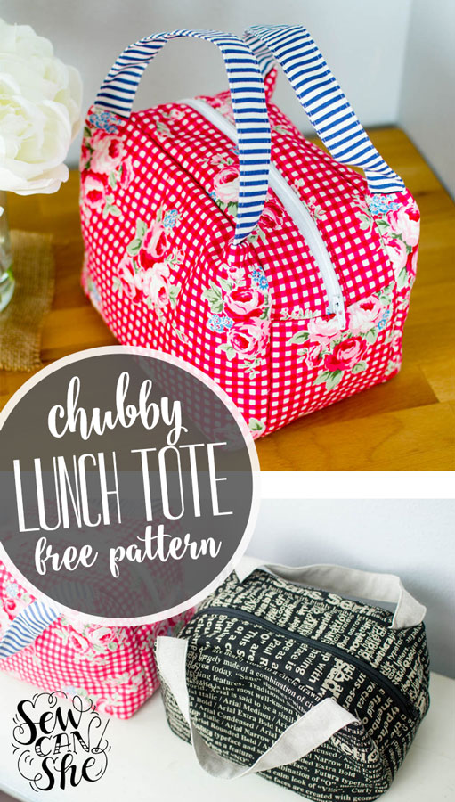 """Chubby Lunch"" Free Quilted Tote Bag Pattern Caroline Fairbanks-Critchfield from She Can Sew"
