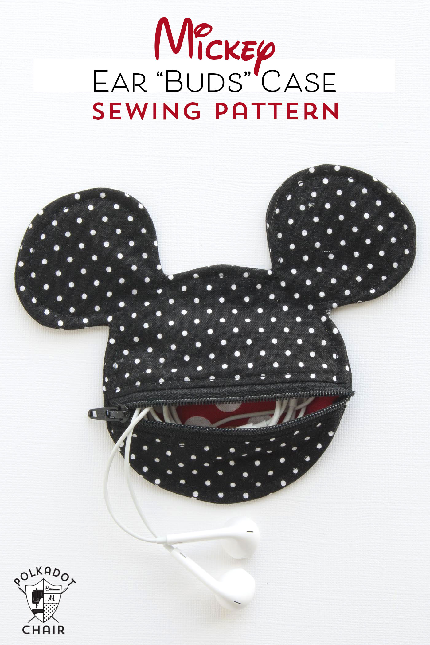 MICKEY MOUSE INSPIRED EARBUD POUCH from Polka Dot Chair