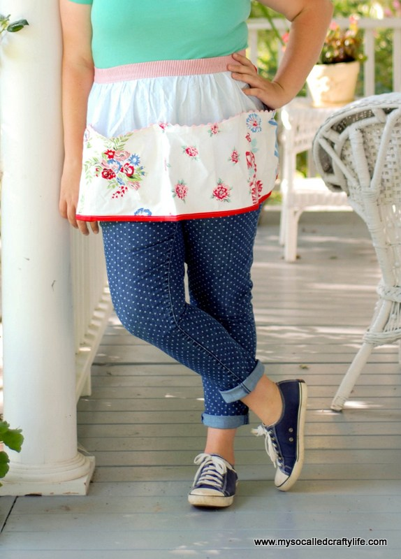 DIY Upcycled Vintage Tablecloth Apron from My So Called Crafty Life