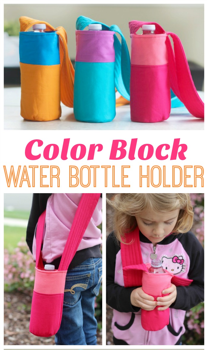 Color Block Fabric Water Bottle Tutorial from Gluesticks