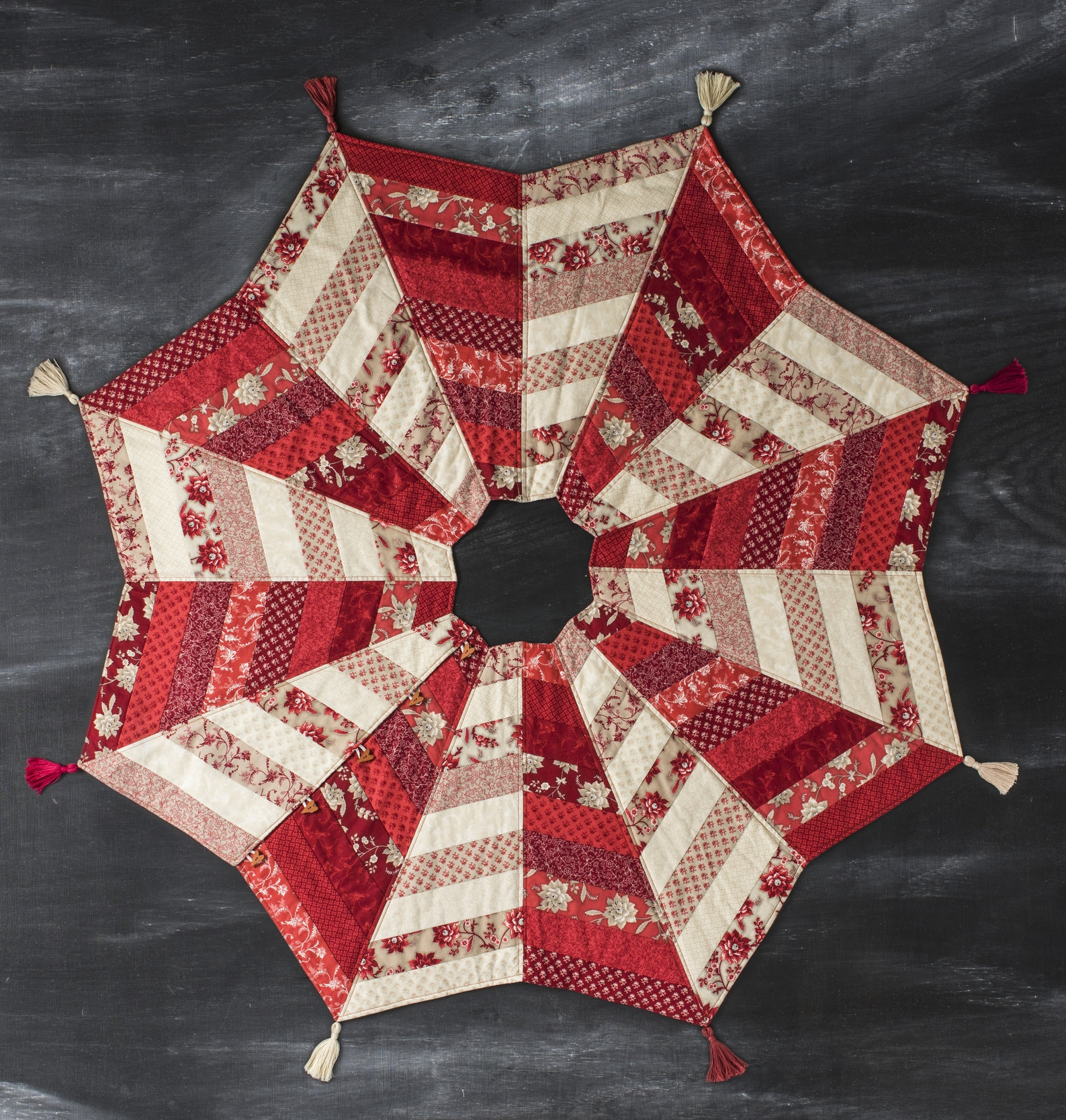 A quilted christmas tree skirt pattern