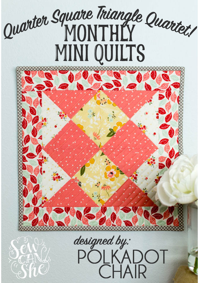 quarter square triangle mini quilt