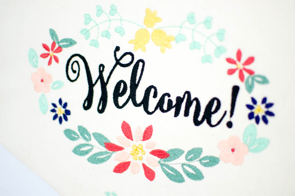 Embroidered Welcome Banner - free sewing pattern (for hand or