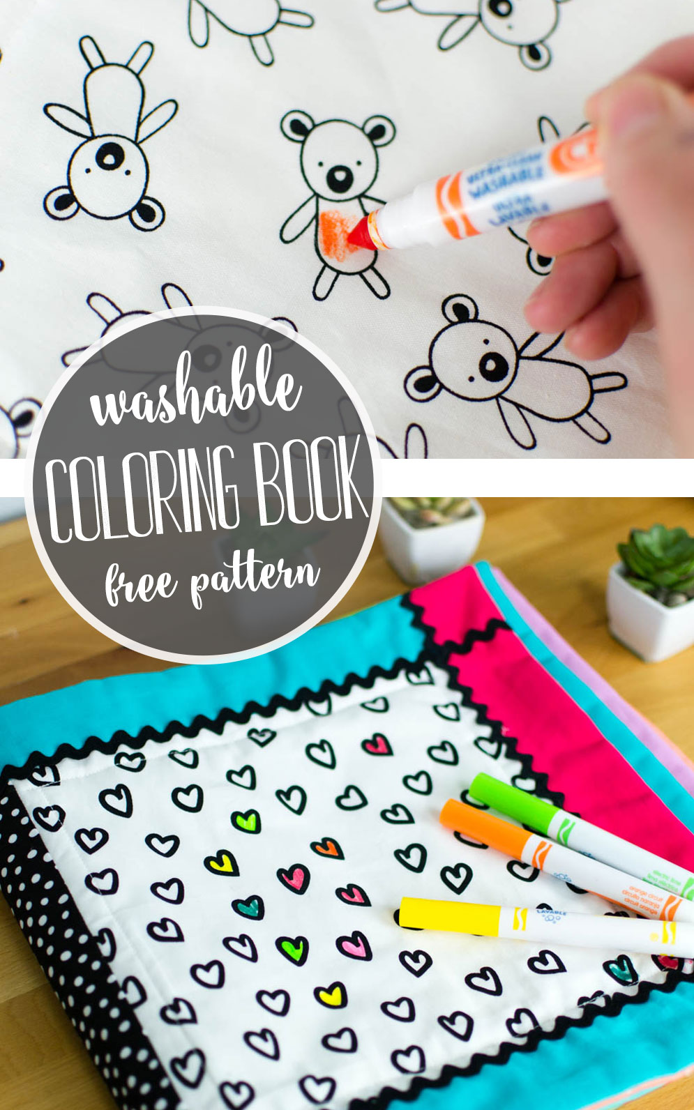 Sew a washable coloring book.