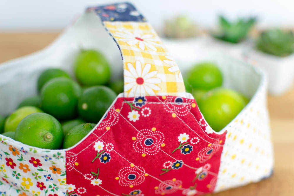 patchwork fabric basket with limes