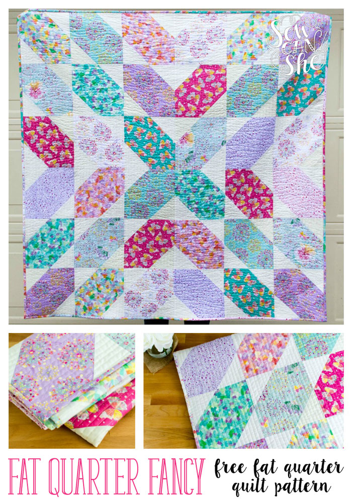 """Fat Quarter Fancy"" a Free Quilt Pattern designed by Caroline from Sew Can She"