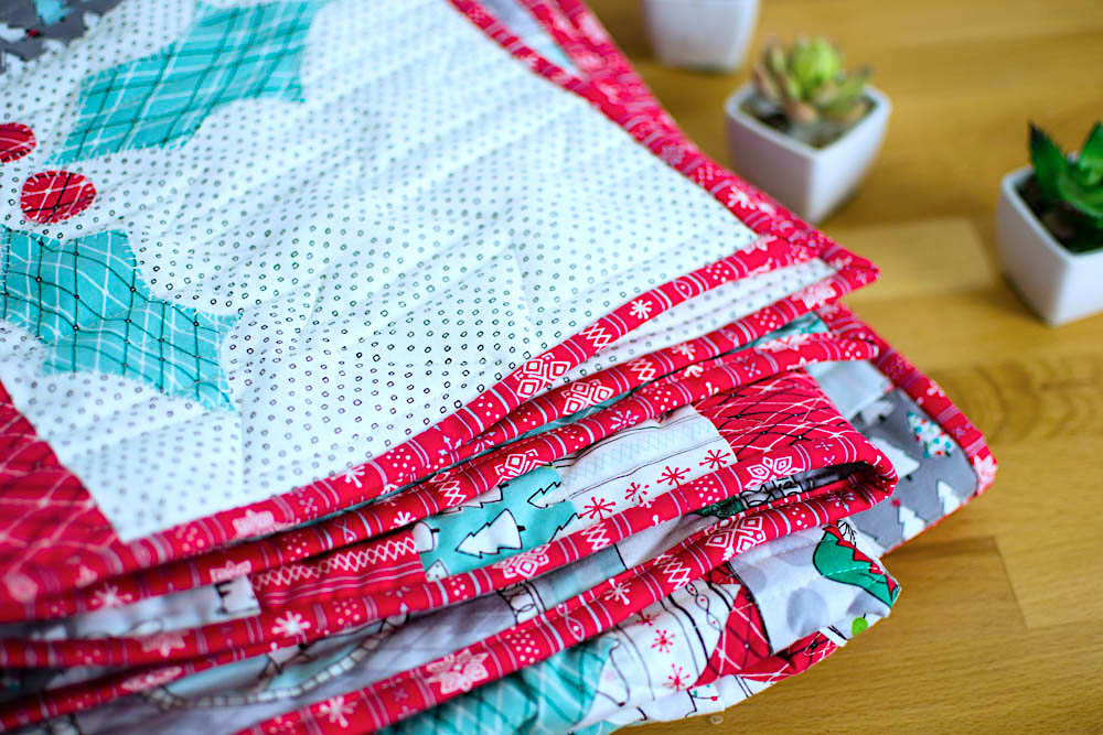 Merry Stars Quilt. Click for the free pattern.