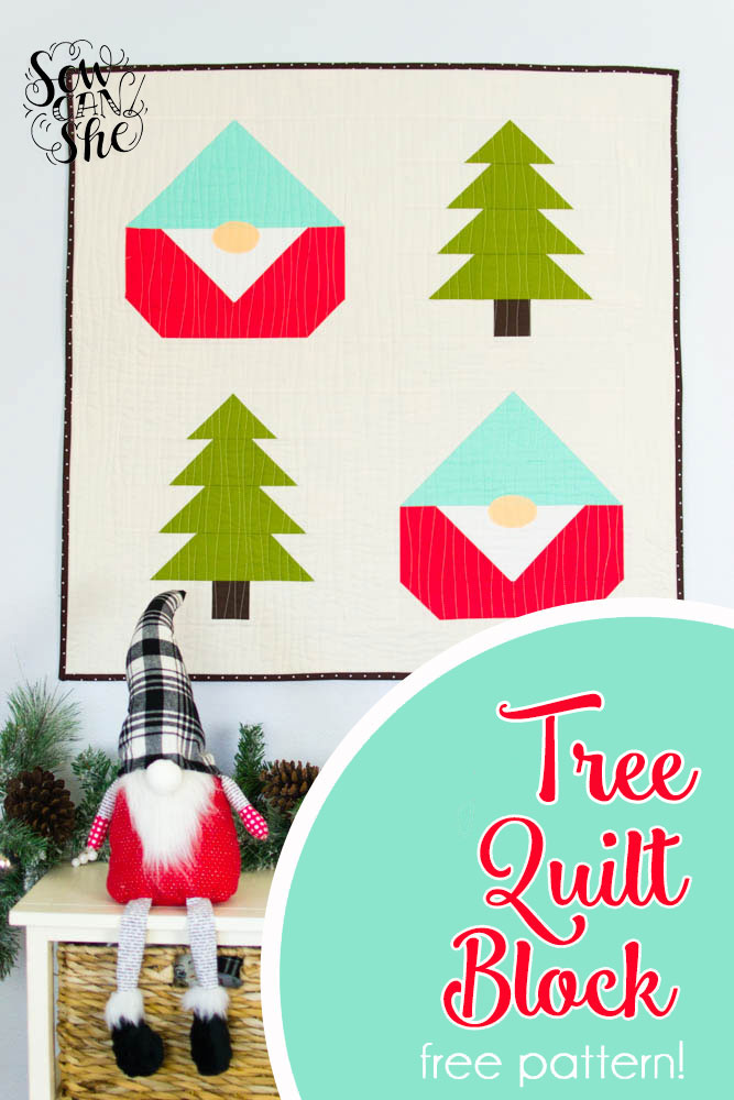 Easy Pine Tree Quilt Block (& how to finish your Gnome Forest Quilt) — SewCanShe | Free Sewing ...