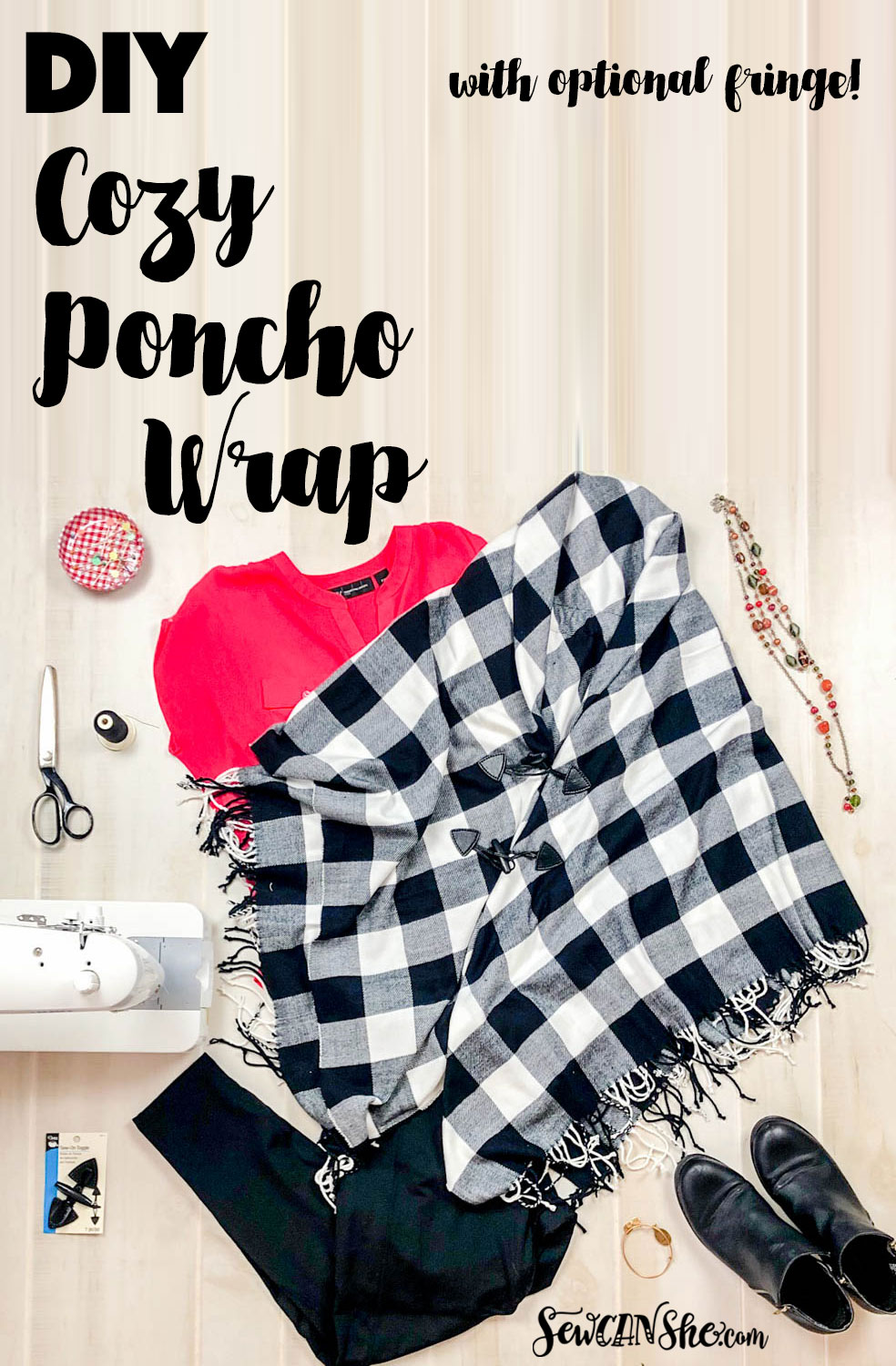 Diy Cozy Poncho Wrap That You Can Sew From Fabric Or A Throw Blanket Sewcanshe Free Sewing Patterns And Tutorials