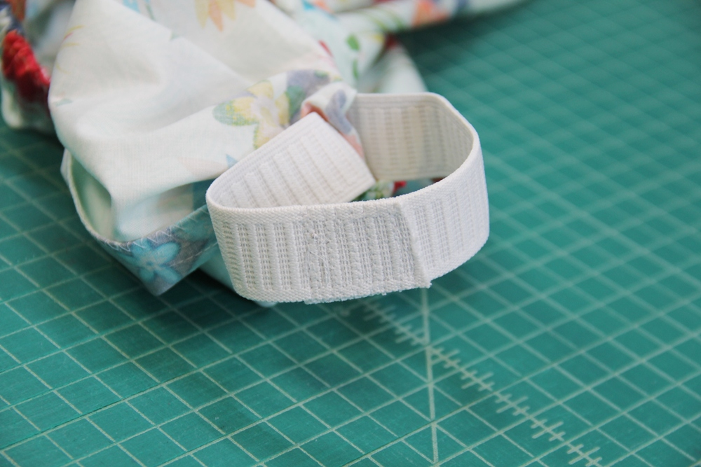 9. Stitching ends of elastic together.JPG