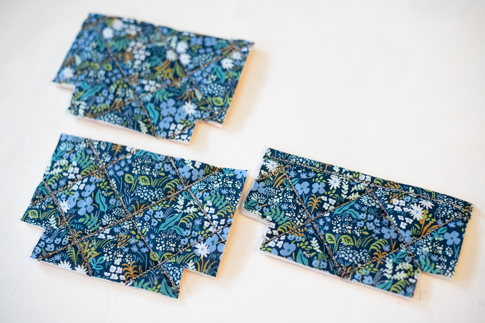 The three pieces cut from my quilted fabric and stabilizer sandwich.