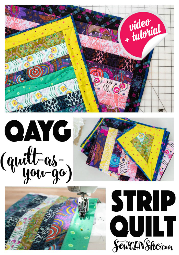 """Strip Quilt"" Free QAYG Quilt Pattern designed by Caroline from Sew She Can Sew"