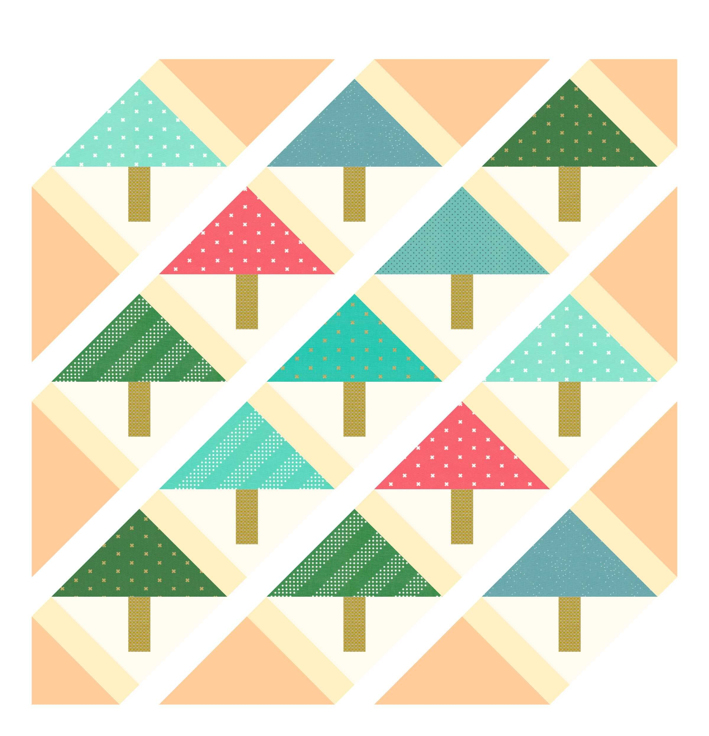 The sashing squares, edge triangles, and corner triangles are intentionally darker to make them easier to see.