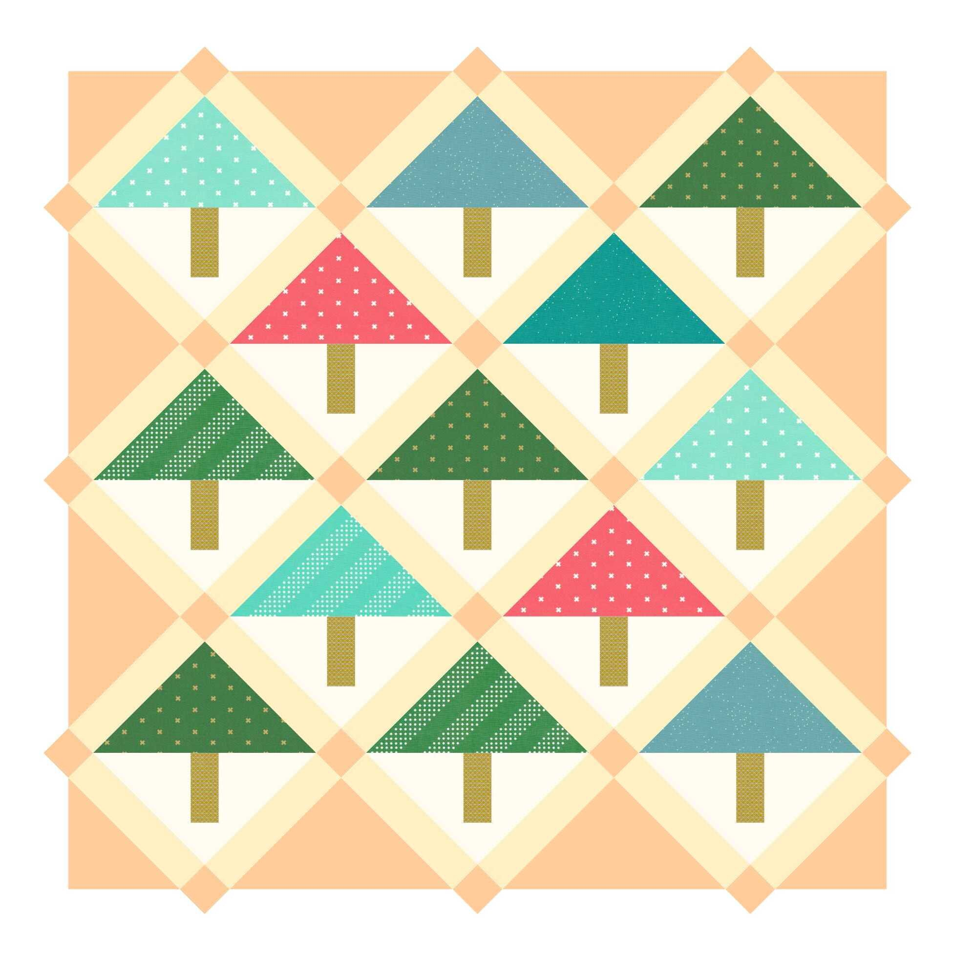 The sashing, edge triangles, and corner triangles are intentionally darker to make them easier to see.