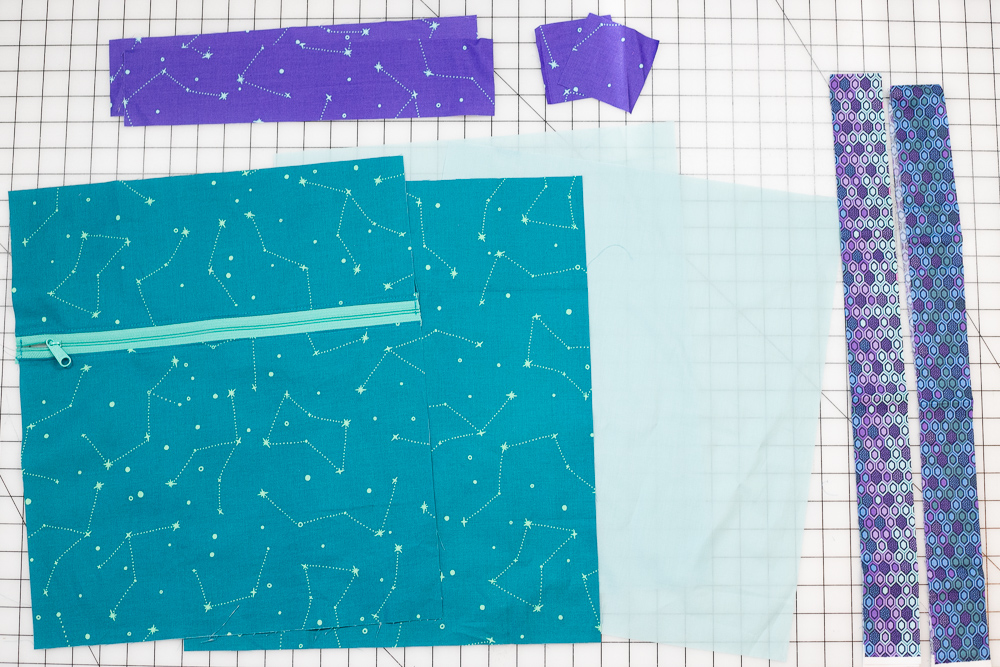 The bag pieces - after you have completed the exterior side with a pocket.