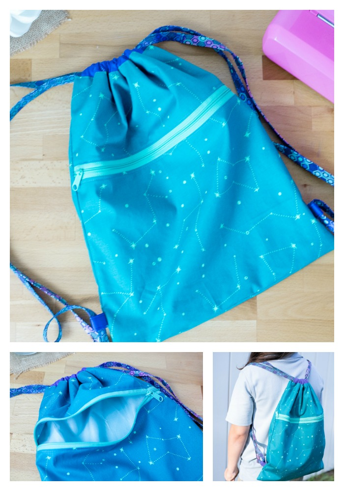DIY drawstring backpack with a pocket
