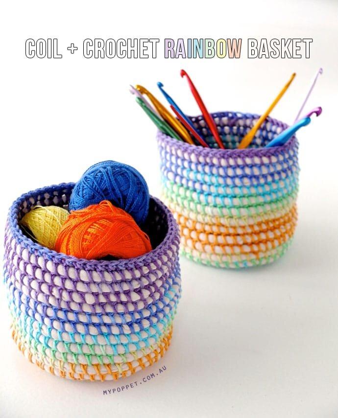 Friday Spotlight: Cintia's Beautiful and Bright Coil & Crochet Rainbow Baskets!