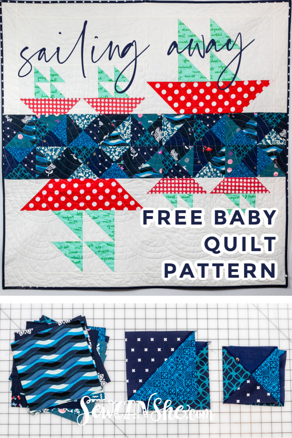 Sailing Away Free Baby Quilt Pattern With Sailboat Blocks Sewcanshe Free Sewing Patterns And Tutorials