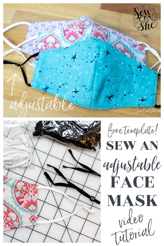 face mask pattern adjustable ties